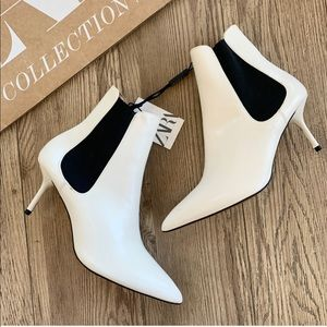 NWT Zara Mid Heeled Stretch Ankle Boots White 6